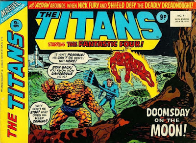 Marvel UK, The Titans #93, Fantastic Four on the Moon as the Sentry approaches