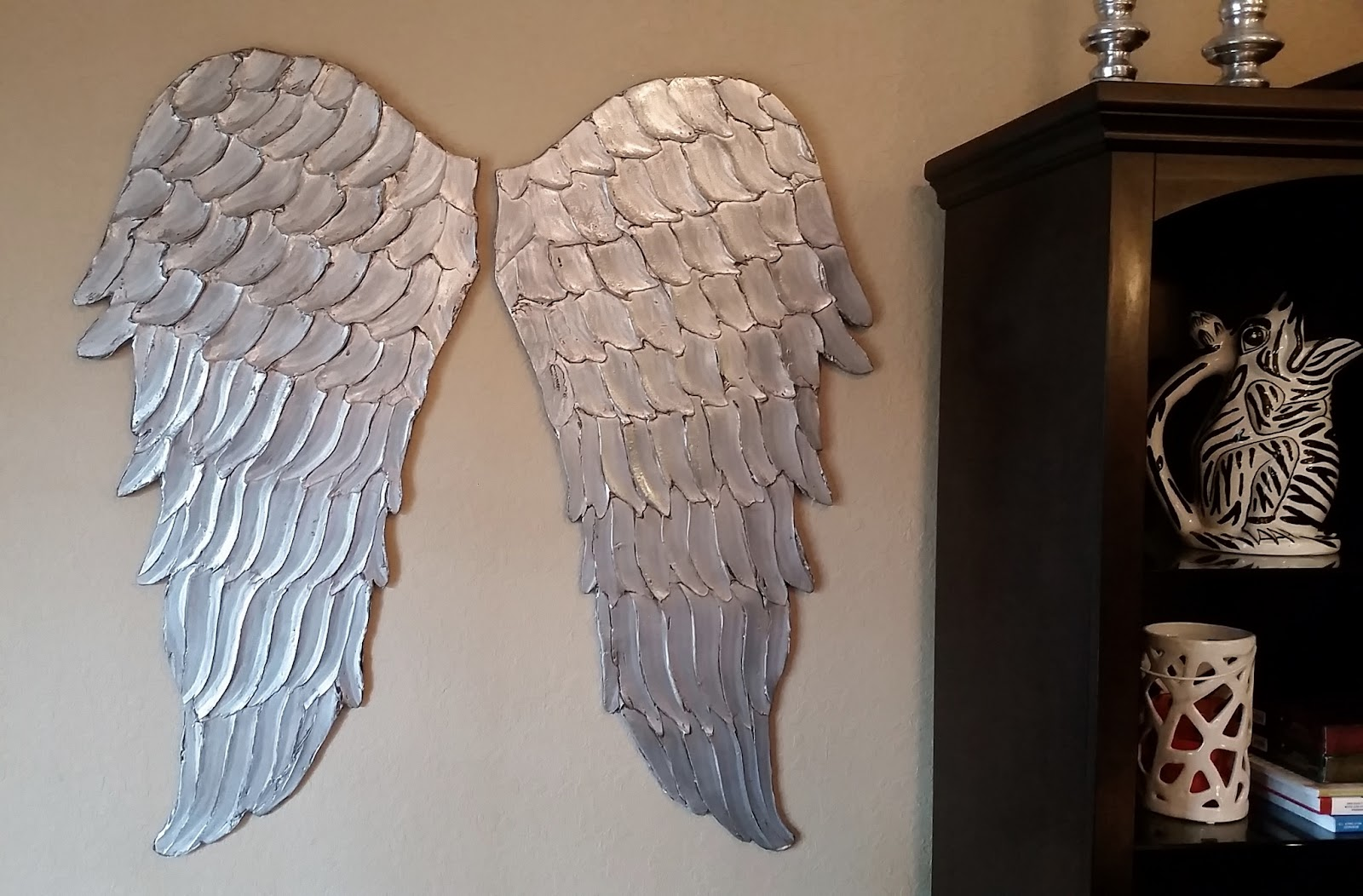 Good Wood Angel Wings Wall Art Large Carved Look Wooden Angel