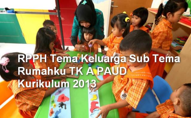 RPPH Tema Keluarga Sub Tema Rumahku TK A PAUD Kurikulum 2013