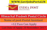 Himachal Pradesh Postal Circle Recruitment 2017–Postal Assistant