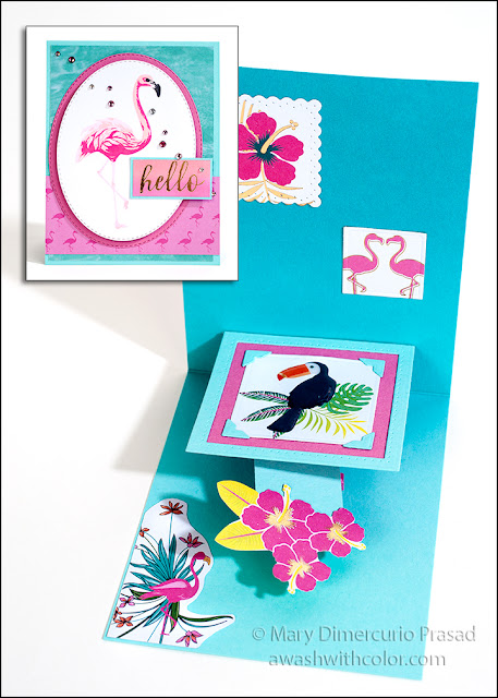 Xyron DCWV Hero Arts Color Layering Flamingo Karen Burniston Pop-up Card