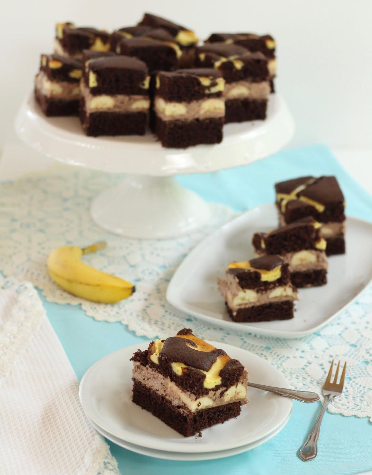 Schoko-Steppdeckenkuchen mit Bananen | Rezept und Video von Sugarprincess