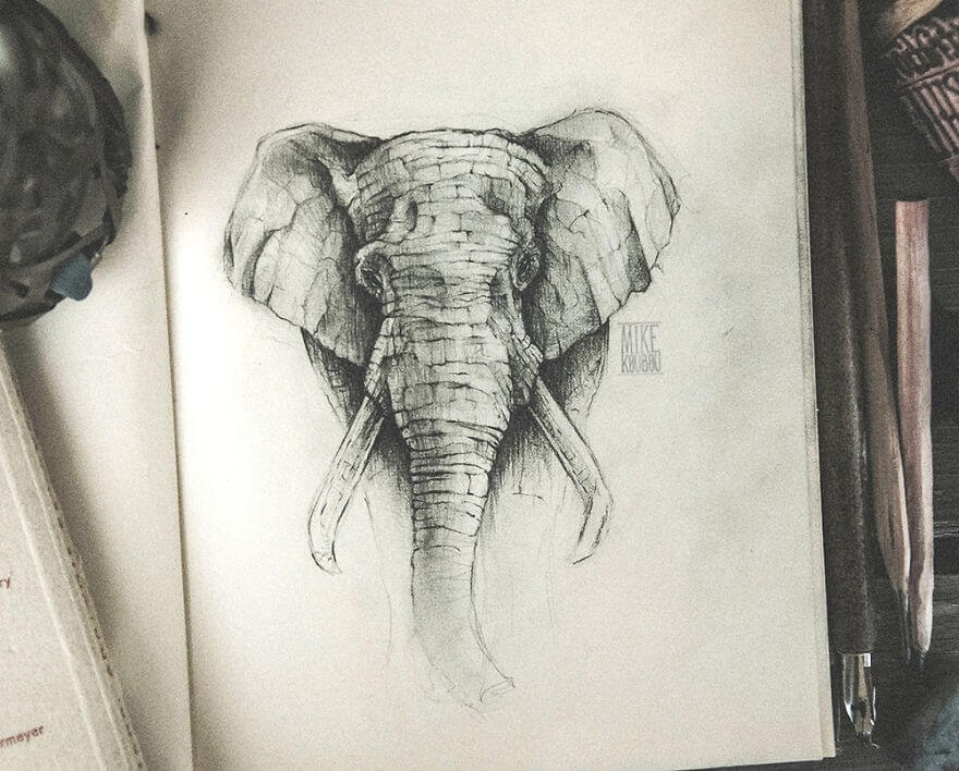 03-The-Elephant-Mike-Koubou-Stylized-Sketchbook-Animal-Pencil-Drawings-www-designstack-co