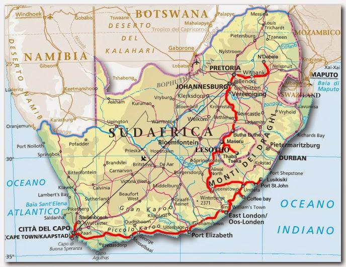 Cartina Africa Sud.Work In Progress Sudafrica Appunti