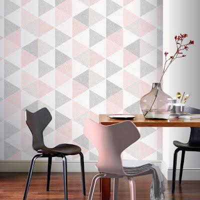 Papel Pintado geométrico triángulos rosas