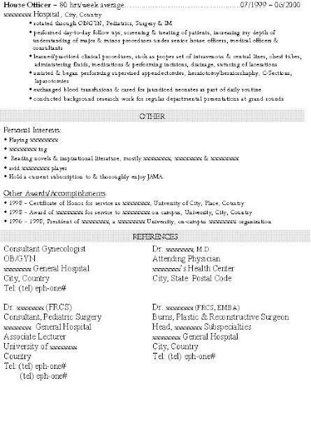 resume for residency application
