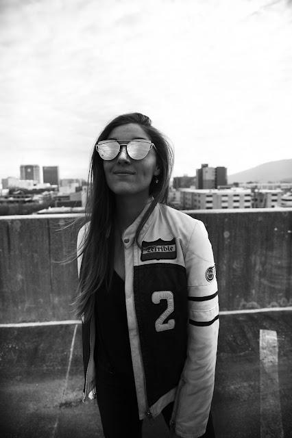vintage grunge edgy biker jacket model sunglasses street style