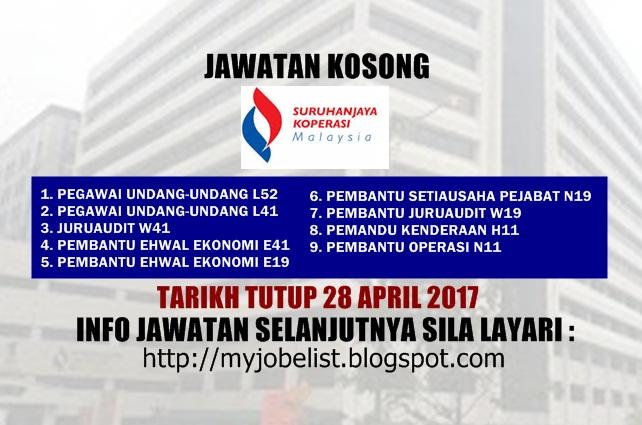 Jawatan KosongJawatan Kosong di Suruhanjaya Koperasi Malaysia (SKM) April 2017