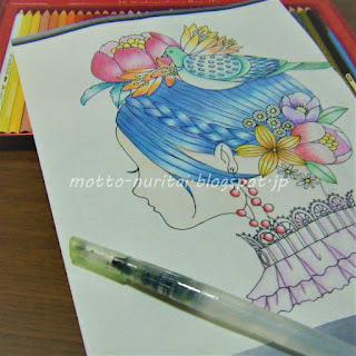 森のちいさな女の子を水彩色鉛筆+水筆で