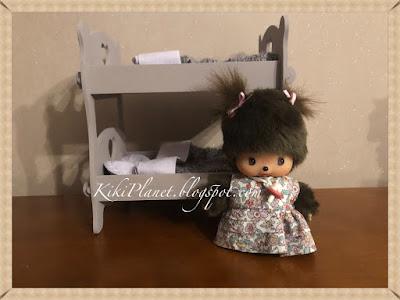kiki monchhichi handmade lits superposés bois doll fait main miniature