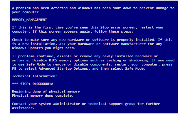 Komputer Terjadi Blue Screen