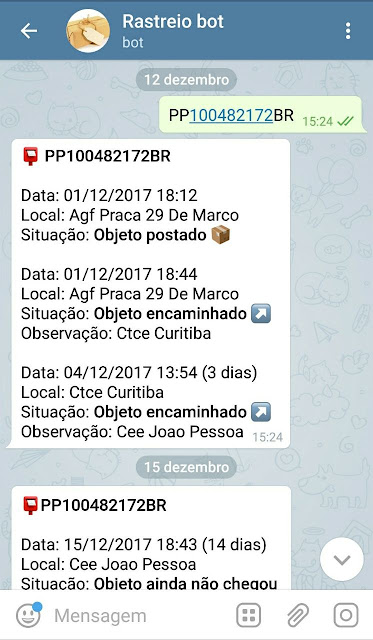Rastrear objeto telegram