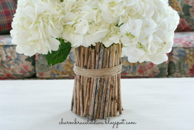 DIY twig vase hydrangea