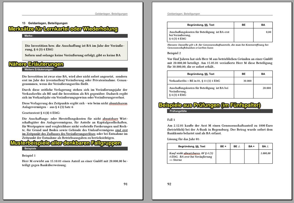 struktur des 43 buchs am beispiel des relativ kurzen kapitels 13 geldanlagen und beteiligungen - Einnahmenuberschussrechnung Beispiel