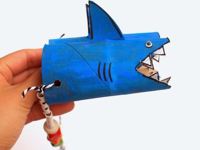 Make a fun pair of shark binoculars from toilet paper rolls!