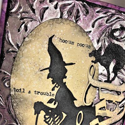 Sara Emily Barker http://sarascloset1.blogspot.com/ Halloween 3D embossing tutorial card Tim Holtz Sizzix Alterations Ranger Distress 2