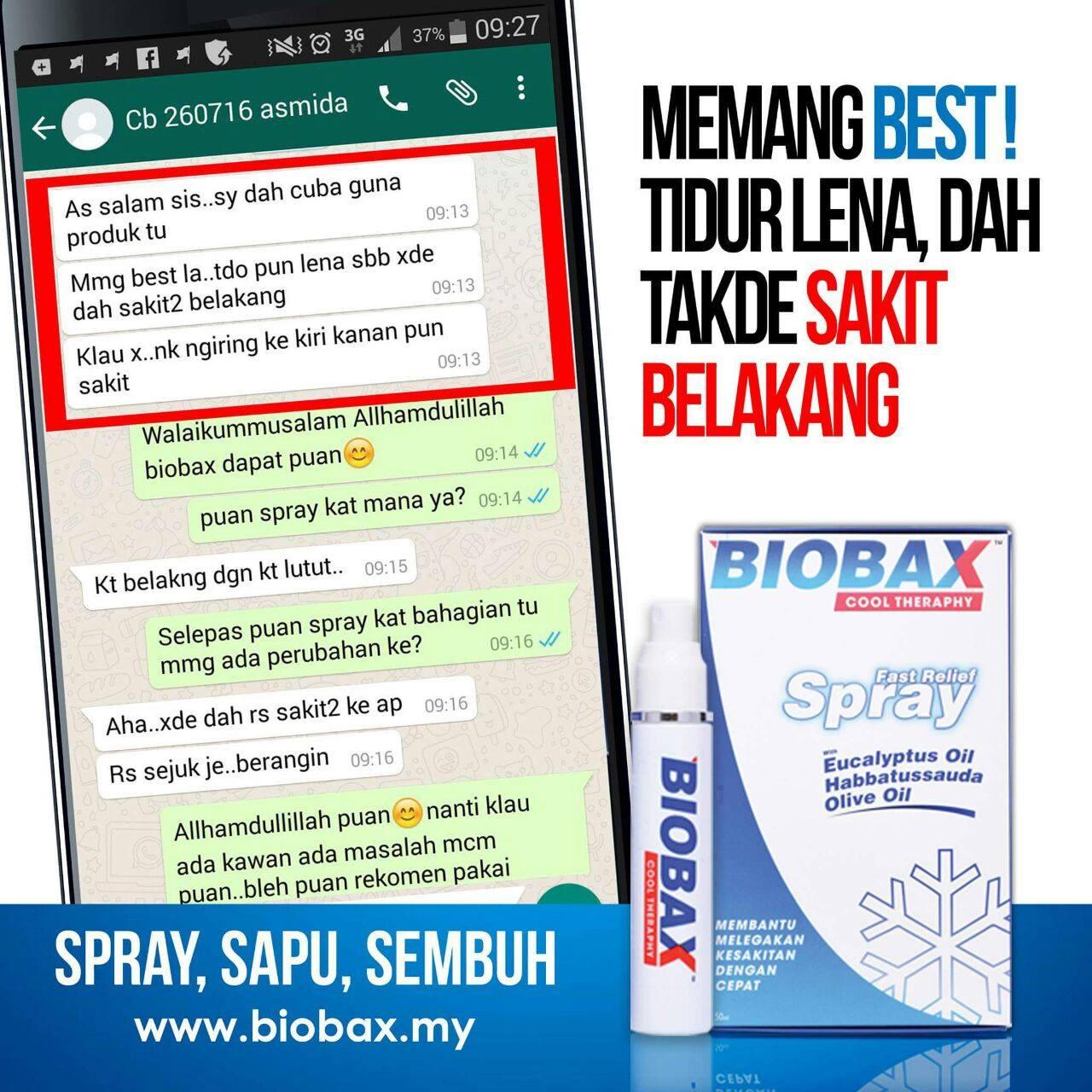 Biobax Spray - melegakan, mengurangkan & menyembuhkan sakit belakang & sakit pinggang