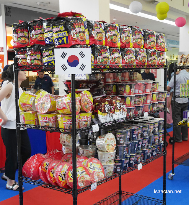 Rows and rows of Korean food products on sale, at bargain prices