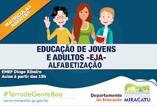 Departamento de Educação de Miracatu abre inscrições para o EJA - Alfabetização
