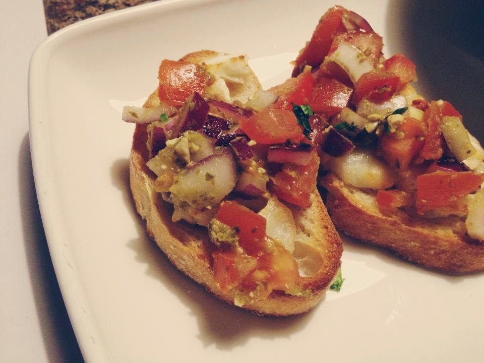 The Filling Station Christmas Preview Event goats cheese bruschetta