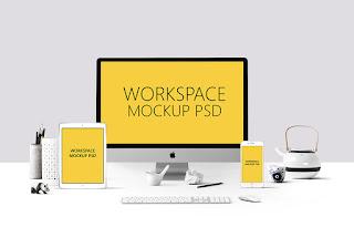 10 موك أب للفوتوشوب علي شكل ملف psd بجوده عاليه جدا  Workspace-Mockup-PSD