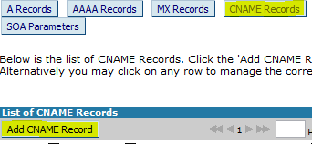 Adding CNAME record in bigrock