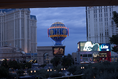 Photograph of the Paris Casino at dusk