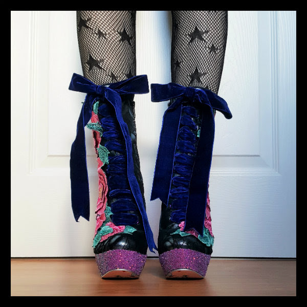velvet laces front view of Irregular Choice Maya birdcage boots