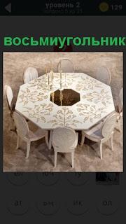 Стол восьмиугольник в центре и рядом расположены стулья