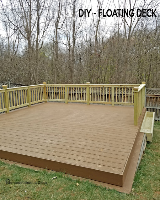 how to build a floating deck on slanted yard.