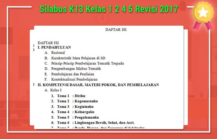 Silabus K13 Kelas 1 2 4 5 Revisi 2017