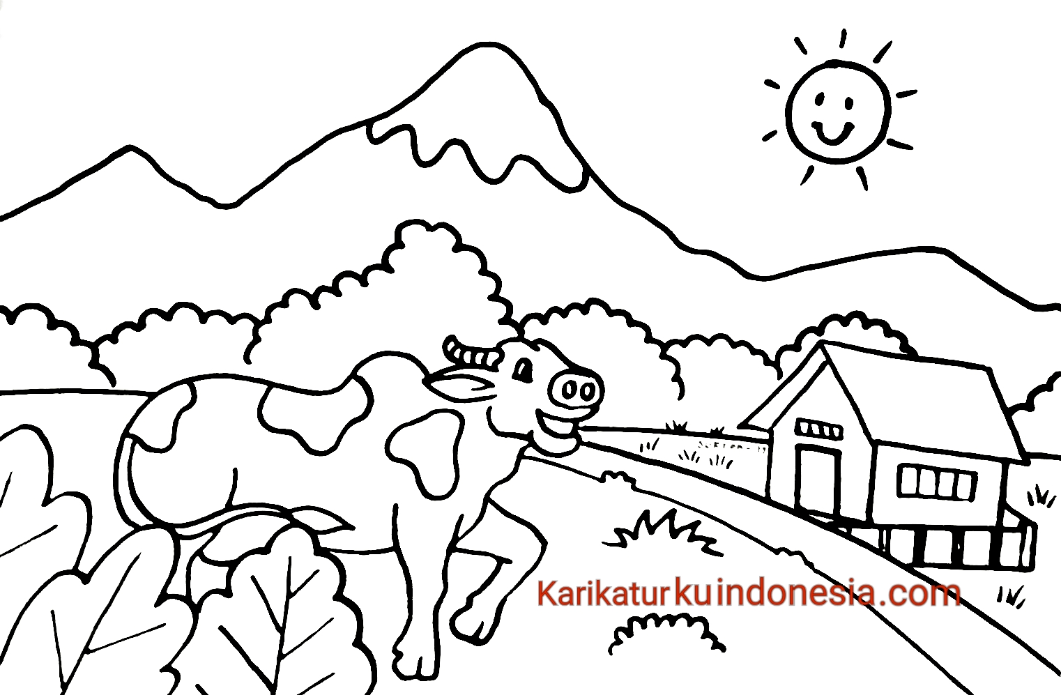 Karikaturku Indonesia Mewarnai Pemandangan Alam Gunung Dan Hewan