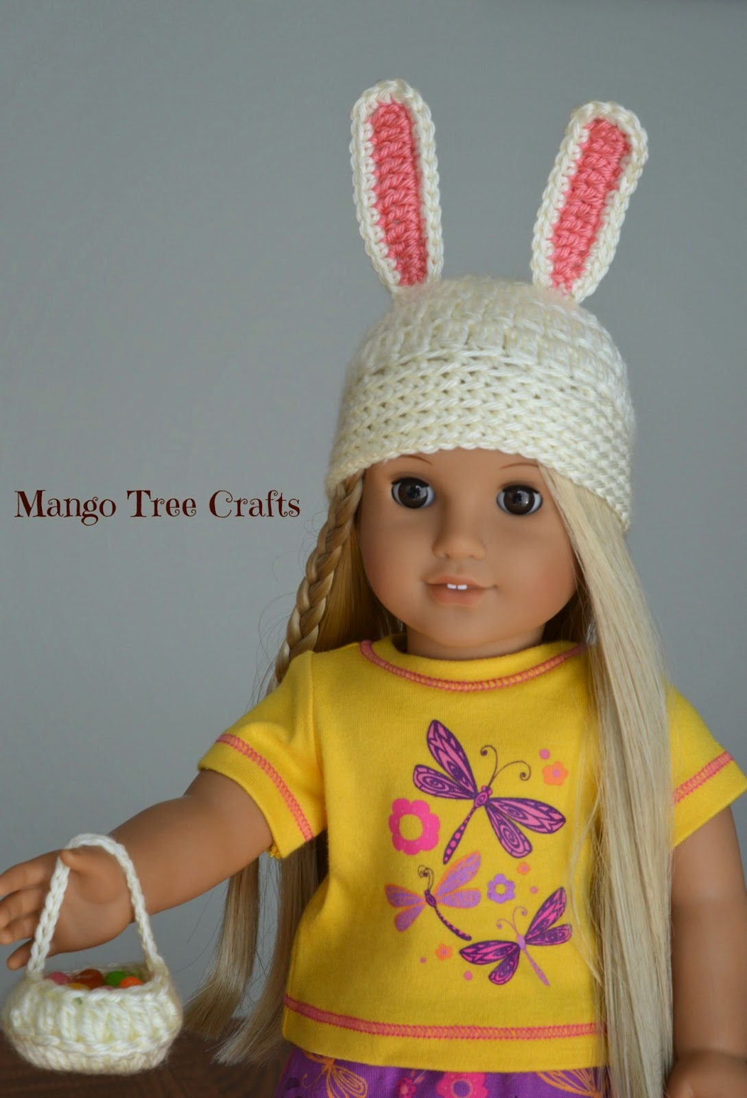 Crochet bunny hat for doll