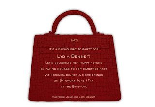 bachelorette party invite handbag