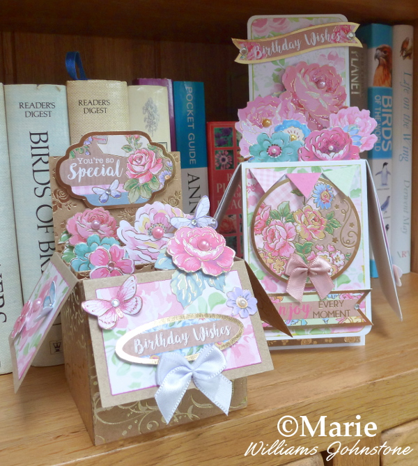 Two Floral flower Birthday pop up box cards made by hand crafted card making cardmaking pink pastels blue women ladies her