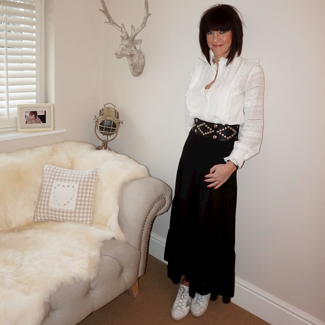my midlife fashion, zara embroidered blouse, isabel marant etoile studded belt, marks and spencer tiered maxi skirt, golden goose superstar low top leather trainers
