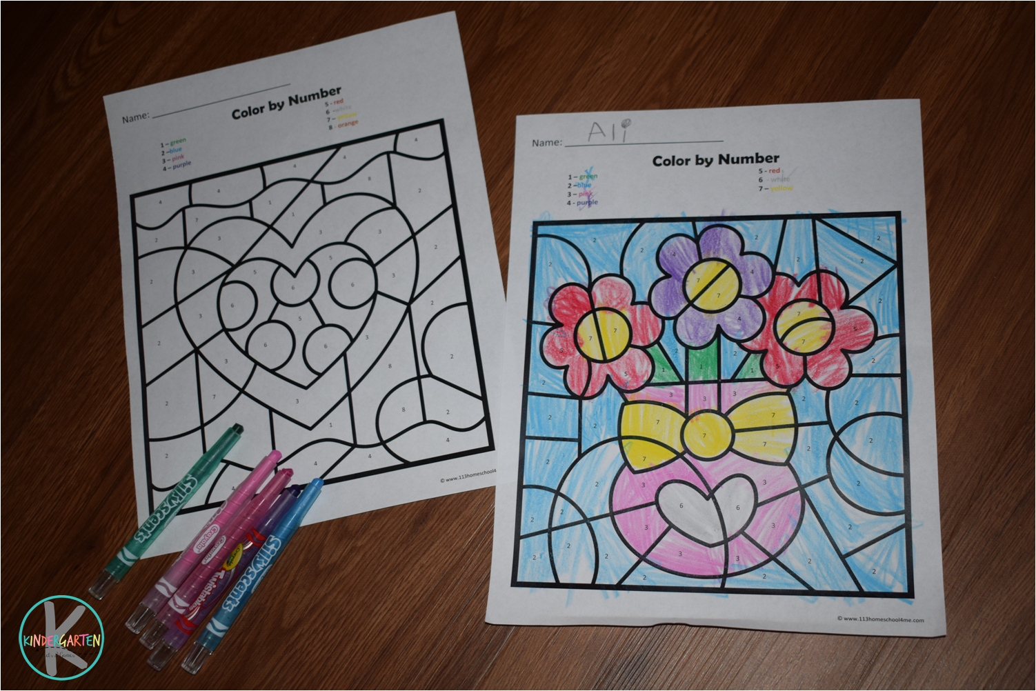 Kindergarten Worksheets And Games Free Valentines Day Color By Number