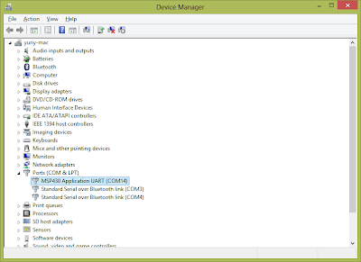 Screenshot of the Device Manager window showing MSP430 Launchpad
