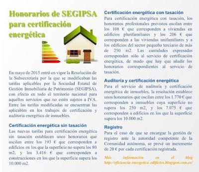 Tarifas de certificación energética