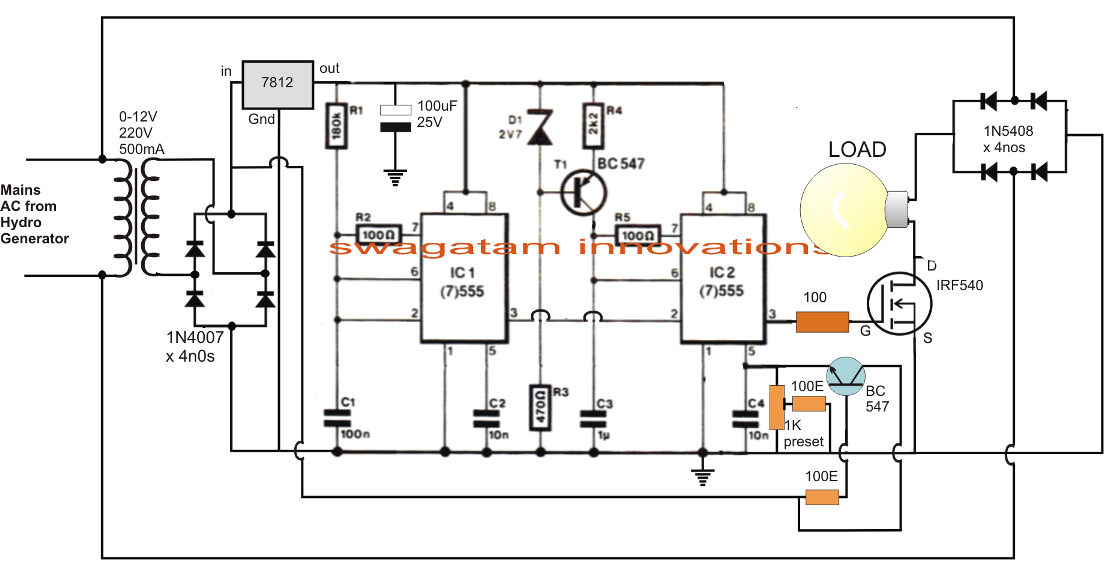 simple electronic load controller  elc  circuit for hydro