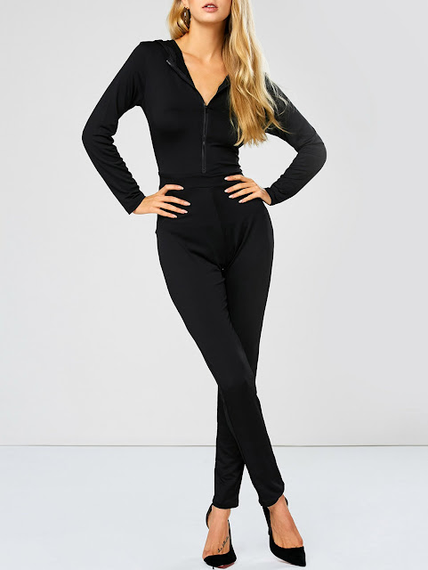 Hooded Zip Up Long Sleeve Jumpsuit