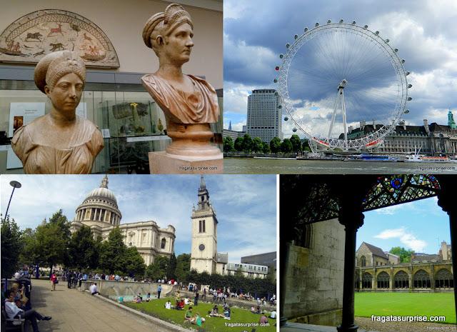Sala de exposições do Museu Britânico, o London Eye, claustro da Abadia de Westminster e a Catedral de Saint Paul