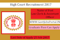 High Court Recruitment 2017–Law Clerk-cum-Research Assistant Officer