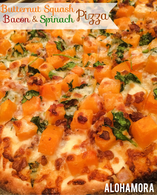 Butternut Squash, Bacon, and Spinach Pizza with a thin crust.  Healthy, delicious, flavorful, easy and fast/quick to make.  It's now one of our favorite pizza.  So delicious!  Alohamora Open a Book http://alohamoraopenabook.blogspot.com/