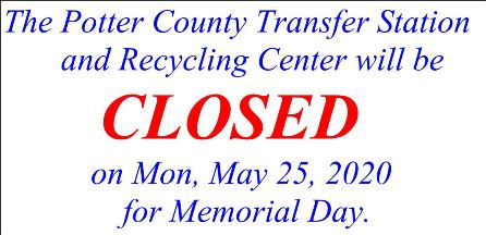 5-25 potter county transfer station closed