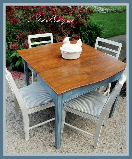 Extensole Table and roadside rescue Chair Makeover. Garage sale fabric finds diy before and after
