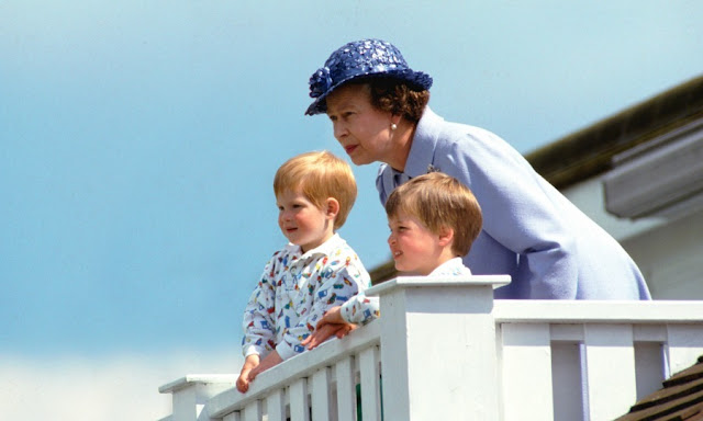 The queen with very young Prince William and Prince Harry At Guards Polo Club, Smiths Lawn in Windsor. Everybody Knows That and other stories of Grandmas and Reason marchmatron.com