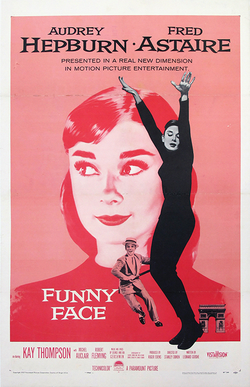 Funny Face, Audrey Hepburn - Vintage Movie Poster, classic posters, free download, free posters, free printable, graphic design, movies, printables, retro prints, theater, vintage, vintage posters, vintage printables