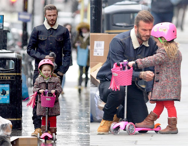 David Bekham and his daughter Harper riding a pink Mini Micro scooter