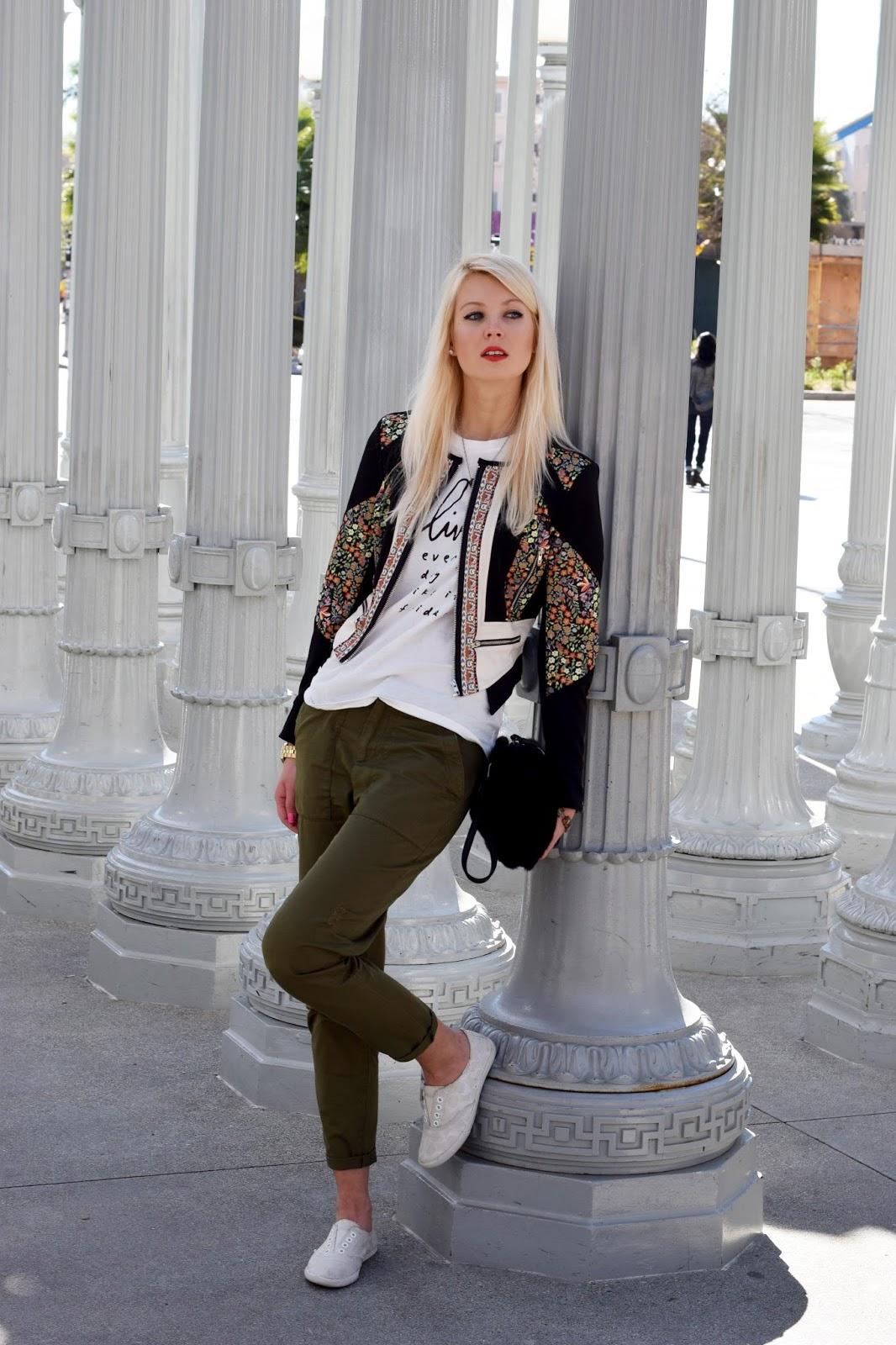 casual look, cargo pants, coach sneakers, printed top, printed tank top, top, shein jacket, shein, floral jacket